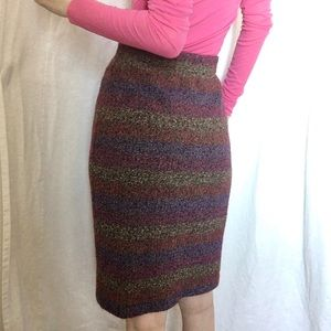 Vintage Missoni Rainbow Striped wool pencil skirt